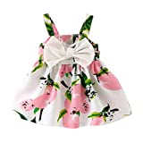 SHOBDW Girls Dresses, Baby Lovely Print Lemon Printed Bowknot Sleeveless Princess Gallus Clothes Infant Summer Outfit (12-18 Months, Pink)