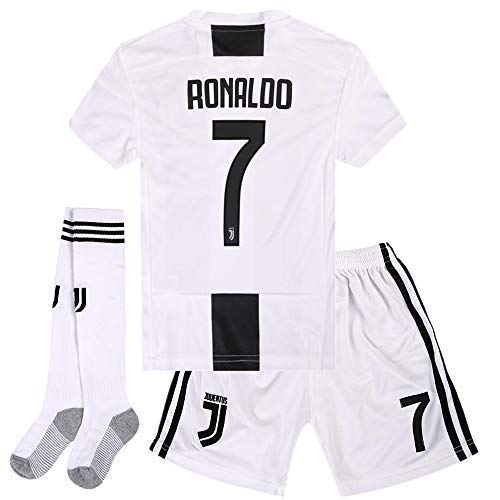 Zawhz Juventus 2018-2019 Home Kids/Youth Cristiano Ronaldo #7 Soccer Jersey & Shorts & Socks Color White 9-10Years Size 24 ()