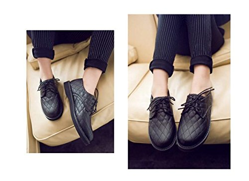 Gaorui Dames Retro Veters Gewatteerd Pu Preppy Stijl Oxford Loafers Flats Causale Schoenen