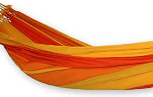 NOVICA Algodón Tela Tropical Decor Hamaca 'Summer brasileña' (Doble) naranja