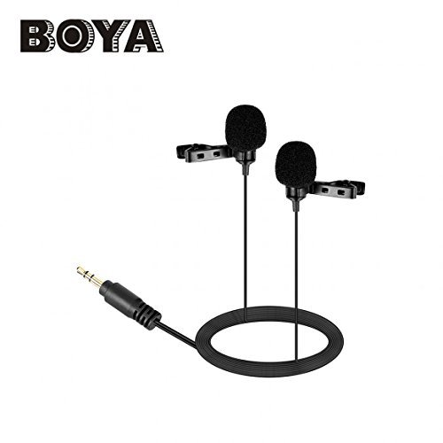 (Boya BY-LM300 Dual Head Lavalier Microphone Omni directional Condenser Mic for DSLR Camema, Camcorder, PC etc)