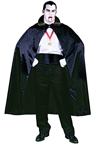 56 Satin Cape Costumes (UHC Men's Satin-Like 56In Black Count Cape Theme Party Adult Halloween Costume, OS)