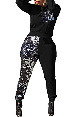 (OLUOLIN Women Velour Glitter Sequin Sweatsuit Hoodies + Sweatpant 2 Piece Outfit Black)