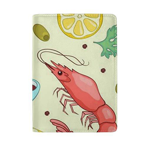 Passport Holder Lobster Lemon Passport Cover Case Wallet Card Storage Organizer for Men Women Kids