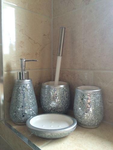 silver crackle bathroom accessories. 4 Piece Silver Mosaic Crackle Sparkle Bathroom Set  Amazon Co Uk