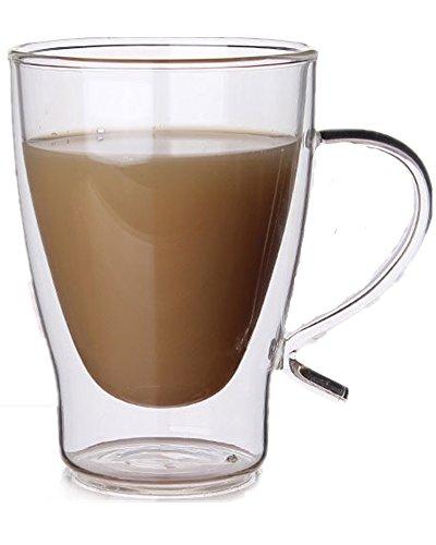 all Heat Resistant Glass Tea Milk Cup Coffee Mug,Set of 2 ()
