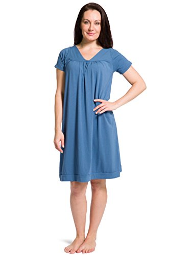 Fishers Finery Women's Tranquil Dreams Short Sleeve Nightgown  Comfort Fit, Moonlight Blue, Large