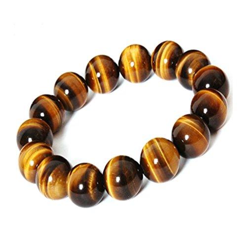 XIAOLI Natural Tiger Eye Gem Beads Tibetan Buddhist Prayer Mala Bracelet 10mm (Tiger Eye Stone)