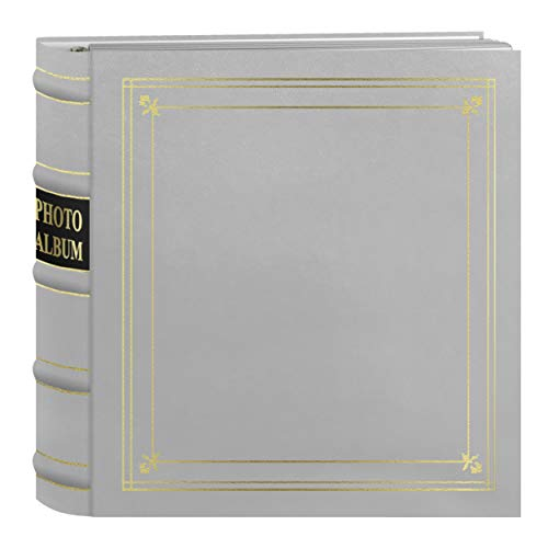 Pioneer Photo Albums 200-Pocket Ring Bound White Bonded Leather with Gold Accents Cover Photo Album for 4 x 6-Inch Prints