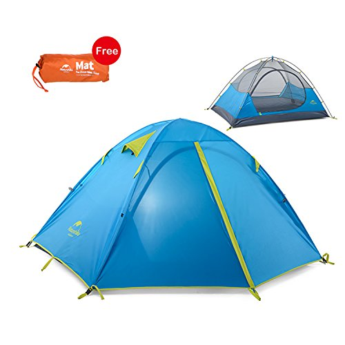 Topnaca 2-3 Person 3 Season Backpacking Tent, Waterproof Windproof Double Layer Double Doors Double Skylight Aluminum Rod, for Camping Hiking Travel (Blue, 2 Person)
