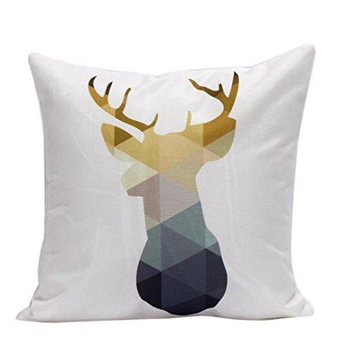 Yellow Gold Olive (Oksale Christmas Reindeer Linen Pillow Case Sofa Home Waist Throw Cushion Cover, 18