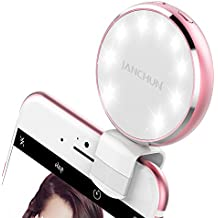 Selfie Ring Light, JANCHUN Rechargable Selfie LED Camera Light with 7 Light Colors and 3 Levels of Brightness - Rose Gold