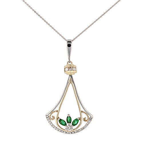 14K Two Tone- White & Yellow Gold Pendant with Diamonds-Ruby, Sapphire, or Emerald (Yellow Gold Emerald Pendant)