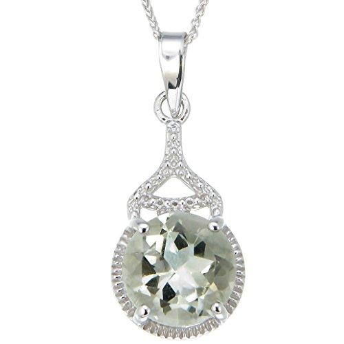 Sterling Silver Green Amethyst Pendant (2 CT) With 18 Inch Chain