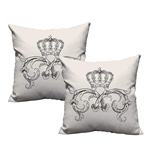 Acelik Medieval Square Lumbar Cushion Cover Royal Crown with Vintage Curves King Palace Ribbon Monochrome Retro Style Resists Stains, Wrinkles 20
