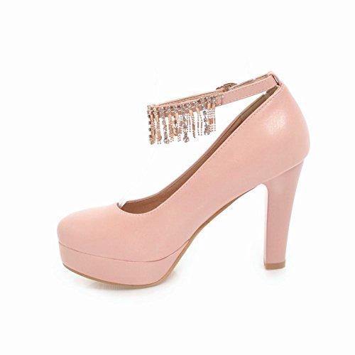 Charm Foot Womens Tacco Alto Cinturino Alla Caviglia Scarpe Con Perline Scarpe Rosa