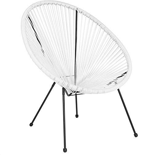 Flash Furniture Valencia Oval Comfort Series Take Ten White Rattan Lounge Chair (Rattan Oval)