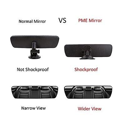 "PME 9.8"" Day/Night Anti Glare Rear View Mirror, Universal Car Truck Mirror Interior Rear View Mirror SuctionCup Rearview Mirror - (Anti Glare Delux Version) Blue Mirror: Automotive"