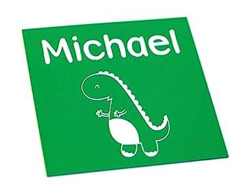 Amazon.com: Letrero para puerta, diseño de dinosaurio blanco ...