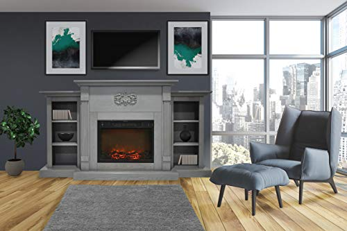 Cambridge CAM7233-1GRY Sanoma 72 In. Electric Fireplace in Gray with Built-in Bookshelves and a 1500W Charred Log Insert