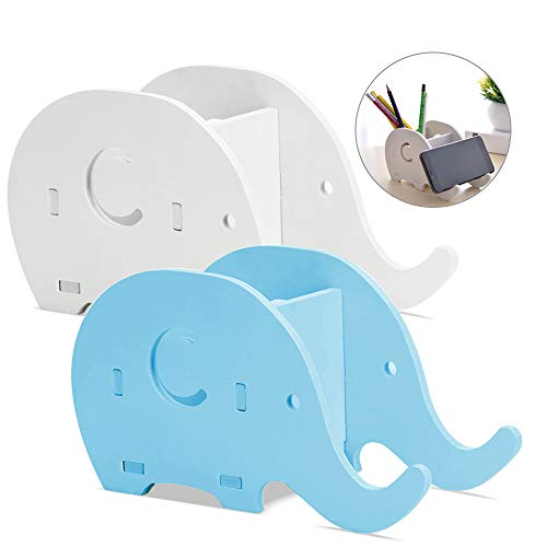 2 Pieces Elephant Shape Desk Pencil Pen Holder, FineGood Wood Plastic Board Stationery Multifunctional Organizer with Cell Phone Stand for Office Adults Kids - Blue, White