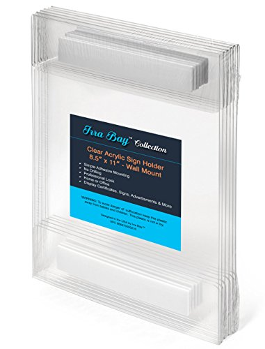 Irra Bay 8.5 x 11 Wall Mount Acrylic Sign Holder with Adhesive, No Drilling (Pack of 6)