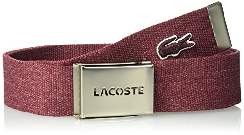 Lacoste Men's 40mmmm Gift Box, Woven Strap Belt, burgundy mottled, US 44/EU 110 (Lacoste Belt Brown)