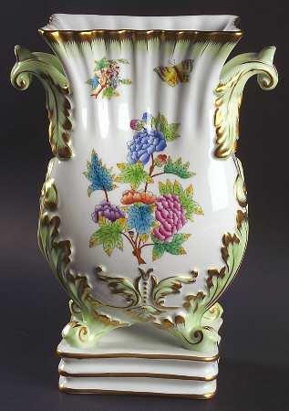 ヘレンド ヴィクトリア(グリーンボーダー)脚付きフラワーベース 花瓶 [並行輸入品] B0132H21OU