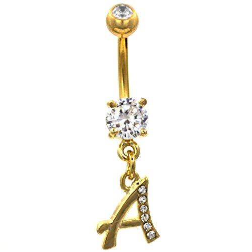 Initial Letter Clear Gem Dazzled Gold-Tone Steel Belly Navel Ring (Initial Belly Ring Letter)