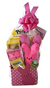 Peeps Bunny Marshmallow Themed Easter Candy Basket with Plush, Games and Headband Pink