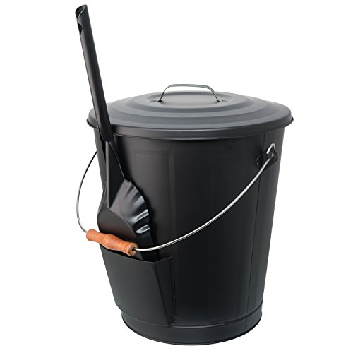 California Home Goods Ash Bucket for Fireplace with Shovel Tool, Large Capacity 6 Gallon Can with Lid and Wood Handle, Black (With Bucket Tin Lid)