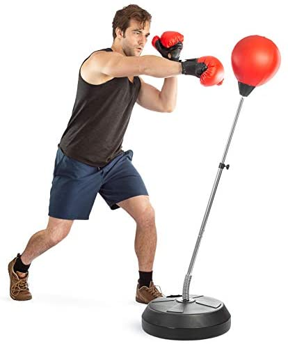 riklos Boxing Ball Speed Punching Bag Free Standing with Adjustable Height Stress Relief Fitness Strong Durable for Adults Child Home Gym