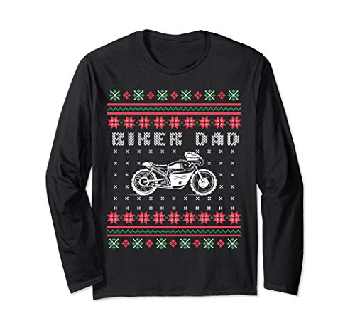 Biker Dad Street Motorcycle Ugly Sweater Long Sleeve Shirt
