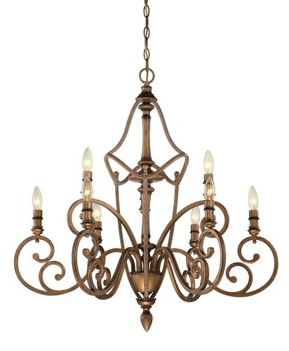 (Designers Fountain 85689-ABS Isla 9 Light Chandelier, Aged Brass)