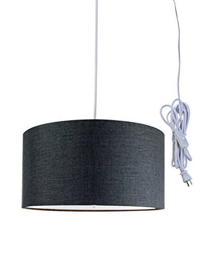 2 Light Plug-in Pendant Light by Home Concept – Hanging Swag Lamp Shallow Drum Granite Grey with Diffuser – Perfect for Apartments, dorms, no Wiring Needed Grey, White Two-Light