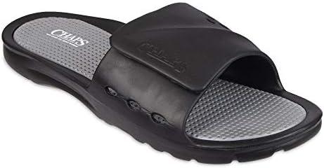 8176e72eadfba Chaps Men's Slide Athletic Sandal Sandal, Black/Grey, Medium (8-9 ...