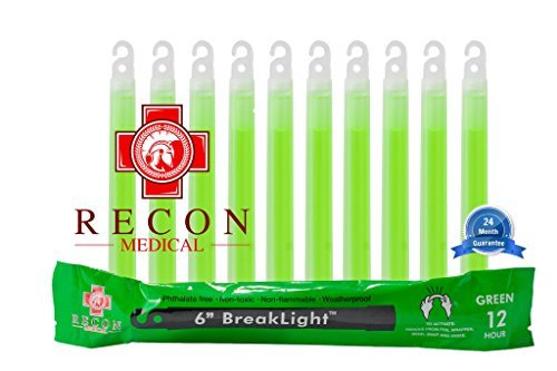 (10 Pack (GREEN) Tactical BreakLights- Recon Medical, 6 Inch, Ultra Bright, First Aid Kit, Hexagon Shape, Ultra Bright Glow Sticks Emergency Light Sticks, Over 12 hour burn)