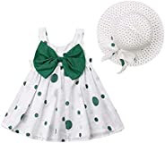 puseky Baby Girls Floral Big Bowknot Sundress Dots Print Sleeveless Dress and Sun Hat Set