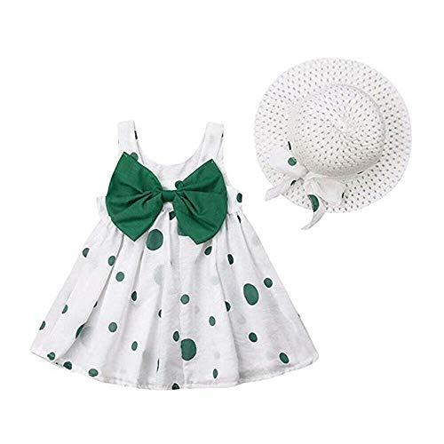 Baby Girls Floral Big Bowknot Sundress Dots Print Sleeveless Dress + Sun Hat Set (6-12 Months, Bowknot-Green)