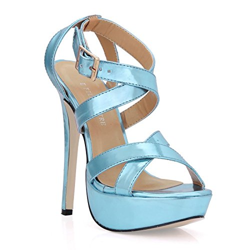 Best 4U® Sandali tacchi alti da donna Tacco a spillo in gomma Premium PU tacco 12CM Scarpe estive primavera tacco blu