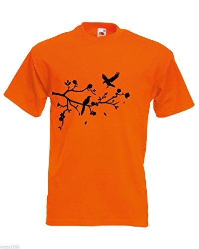 Nature fiori Foresta Shirt Random uomo Free di Gift foglie albero shirt Cadono ramo Pattern Orange Decal e un uccelli con T 6OPqfZ