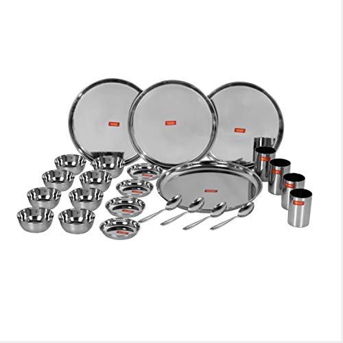 Sumeet Stainless Steel Heavy Gauge Mirror Finish Dinner Set of 24 Pcs (4 Plate, 4 Small/Halwa Plate, 8 Bowl/Wati, 4 Glass, 4 Spoon)