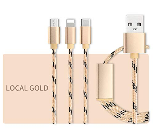Interface Zone Universal Telephone - Fengde USB Cables Nylon Braided Two-Mode Magnetic Charging Cable Compatible with Phones and Tablets Computer Accessories (Color : Gold)