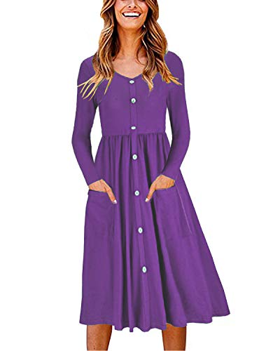 OUGES Women's Long Sleeve V Neck Button Down Midi Skater Dress with Pockets(Purple,XXL)