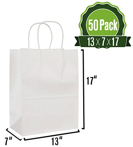 - White Kraft Paper Gift Bags with Handles, 50pc 13x7x17 Shopping, Packaging, Retail, Party, Craft, Gifts, Wedding, Recycled Merchandise Bag