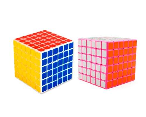 2 Pcs White/ Pink Professional Shengshou 6x6x6 6.7cm 6 Colors Glossy Stickers Puzzle Speed Magic Cube Bundle Set