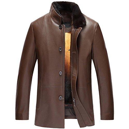 Men's Removable Mink Fur Lined Leather Coat Sheepskin Outwear Removable Fur Lined Parka Luxe Genuine Fur Coat for Men TJ16 (5XL, Champagne)