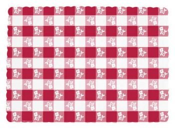 Red Gingham Placemats, Paper 50 Per Pack, Health Care Stuffs