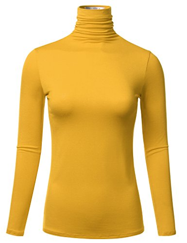 FLORIA Women's Long Sleeve Lightweight Slim Turtleneck Top Pullover Mustard M