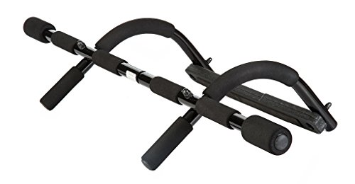 KLB Sport Heavy Duty Upper Body Workout Chin Up/Pull Up Bar, Easy Gym Doorway Exercise Strength Fitness Equipment, Black (Black)